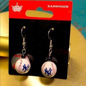 New York Yankee Baseball Earrings